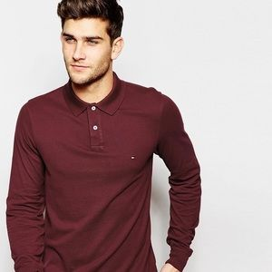Tommy Hilfiger men's long sleeved red polo shirt